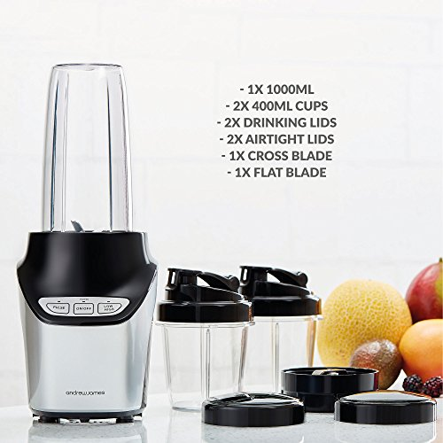 Andrew James Nutri-Fit Personal Blender Smoothie Maker | 10 Piece Set | Grinder & Ice Crusher | 3 Dishwasher Safe Cups | Stainless Steel Blades | 2 Speed | 1000W | 20000RPM