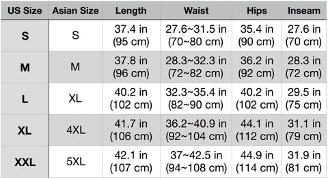 Apex Sizing Chart (with Asian sizes) 4/4/18