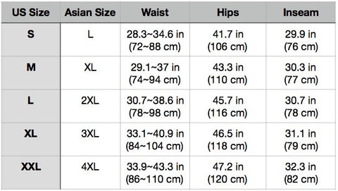 DryTouch Size Chart 7/4