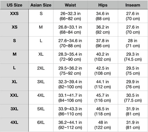 Storm Sizing Chart (with Asian sizes) 9/4
