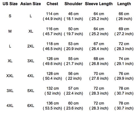 Size Chart Mens Fleece Pants