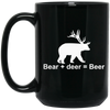 """Bear + Deer"" 15 oz. Black Mug"
