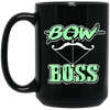 """Bow Boss"" 15 oz. Black Mug"