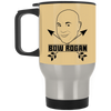 """Bow Rogan"" Silver Travel Mug"