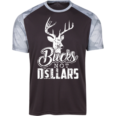 """Bucks Not Dollars"" CamoHex Colorblock T-Shirt"