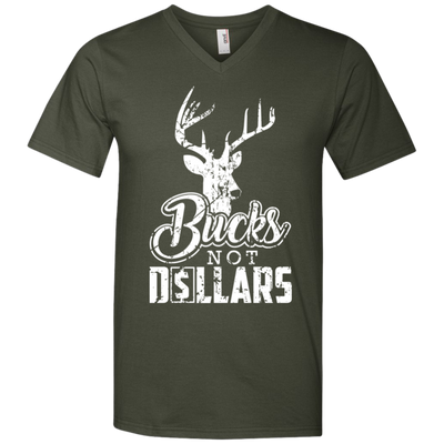"""Bucks Not Dollars"" Men's Printed V-Neck T-Shirt"