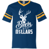 """Bucks Not Dollars"" V-Neck Sleeve Stripe Jersey"