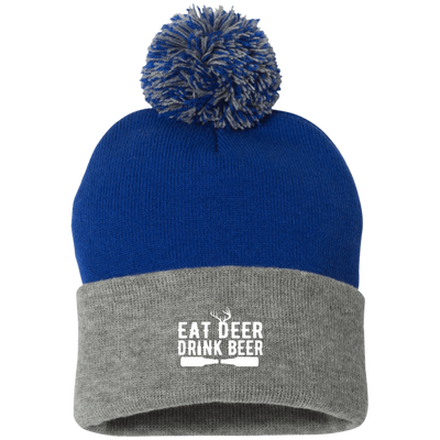 """Deer Beer"" Pom Pom Knit Cap"