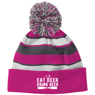 """Deer Beer"" Striped Beanie with Pom"