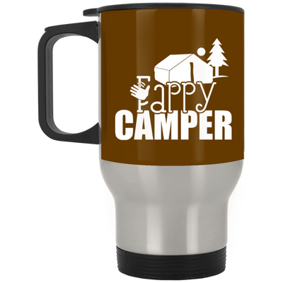 """Fappy Camper"" Silver Stainless Travel Mug"