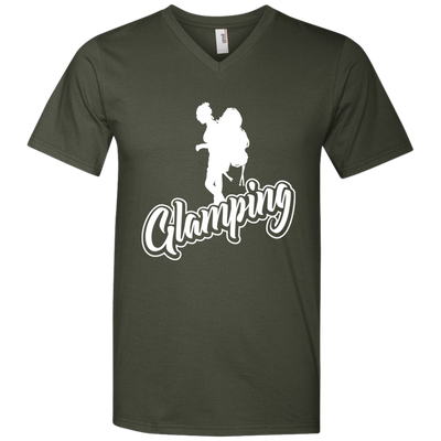 """Glamping"" Men's385976 V-Neck T-Shirt"