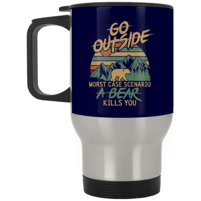 """Go Outside"" Silver Stainless Travel Mug"