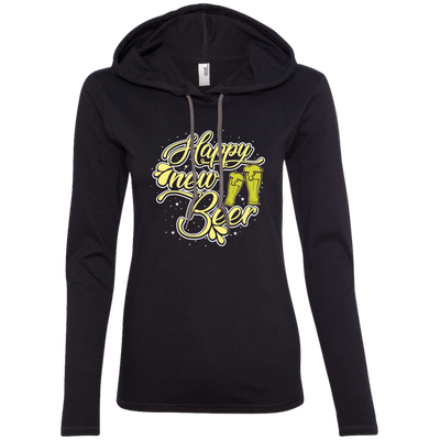 """Happy New Beer"" Ladies' T-Shirt Hoodie"