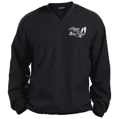 """Happy New Beer"" Pullover V-Neck Windshirt"
