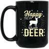 """Happy New Deer"" 15 oz. Black Mug"