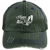 """Happy New Deer"" Distressed Unstructured Trucker Cap"