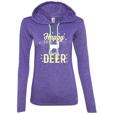 """Happy New Deer"" Ladies' T-Shirt Hoodie"