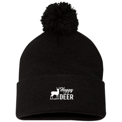 """Happy New Deer"" Pom Pom Knit Cap"