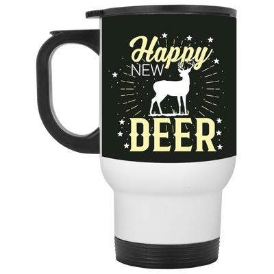 """Happy New Deer"" White Travel Mug"