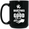 """High Fives"" 15 oz. Black Mug"