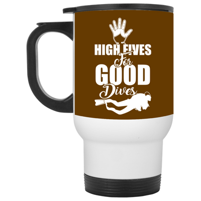 """High Fives"" White Travel Mug"