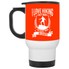 """I Love Hikings"" White Travel Mug"