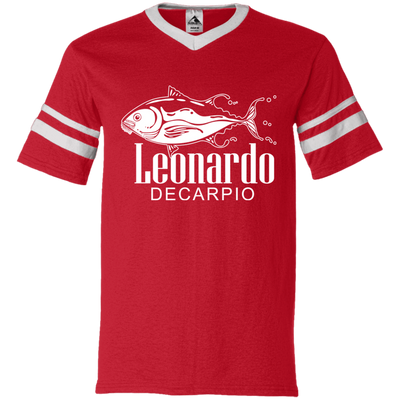 """Leornardo DeCarpio"" V-Neck Sleeve Stripe Jersey"