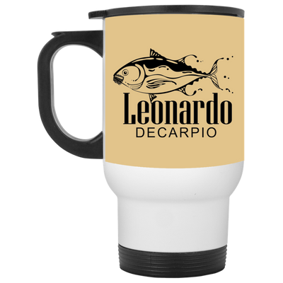 """Leornardo DeCarpio"" White Travel Mug"