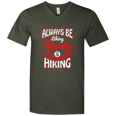 """Liking, Hunting & Hiking"" Men's Printed V-Neck T-Shirt"