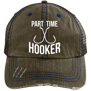 """Part Time Hooker"" Distressed Trucker Cap"