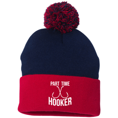 """Part Time Hooker"" Pom Pom Knit Cap"