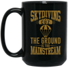"""Skydiving"" 15 oz. Black Mug"