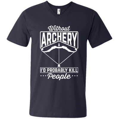"""Without Archery"" Men's Printed V-Neck T-Shirt"