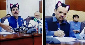 Pakistani Government Officials Using Facebook Live For A Press Conference Accidentally Turned On Cat Filters