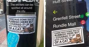 Racist Graffiti Around Manchester Is Mysteriously Being Covered By Cat Stickers