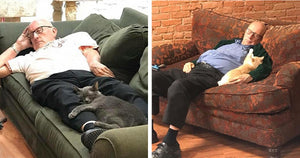 Heartwarming Photos Leak Of 75-Year Old Man Napping With Rescue Cats And The Internet Is Stoked