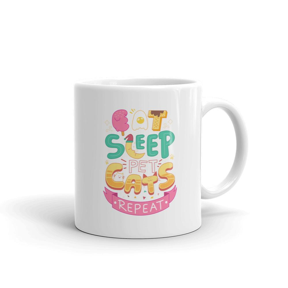 Eat, Sleep, Pet Cats, Repeat - Mug - Cats On Catnip