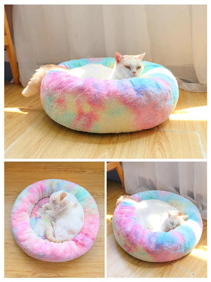 Rainbow Deluxe Plush Cat Bed