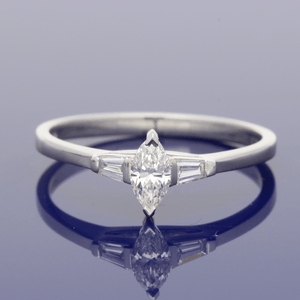 Platinum Marquise Diamond with Tapered Baguettes Trilogy