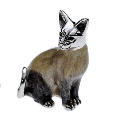 Silver Enamel Siamese Cat - Small
