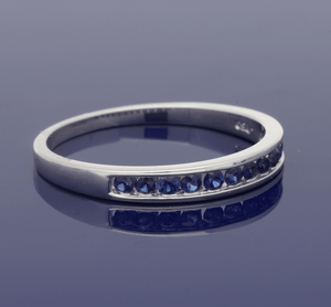 18ct White Gold  Sapphire Half Eternity Ring