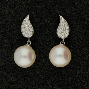 8.5-9mm White Akoya Pearl & Diamond 18ct Earrings
