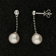 18ct White Gold 6.5mm White Akoya Pearl Earrings