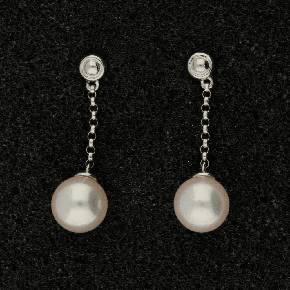 6.5mm White Akoya Pearl 18ct Earrings
