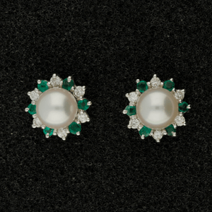 Akoya Pearl, Emerald & Diamond Cluster 18ct Earrings