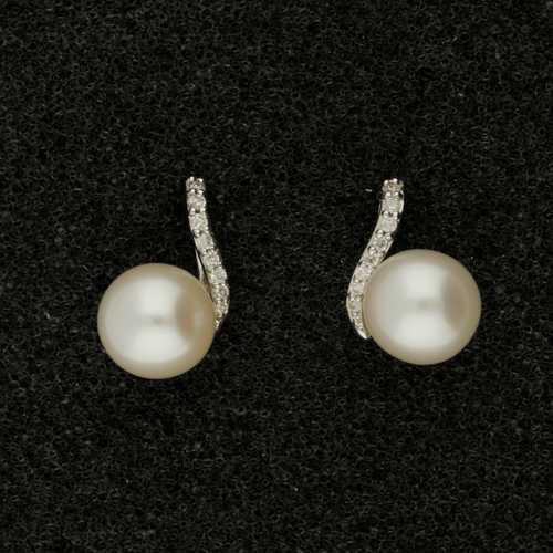 6.5-7mm White Akoya Pearl & Diamond 9ct Earrings