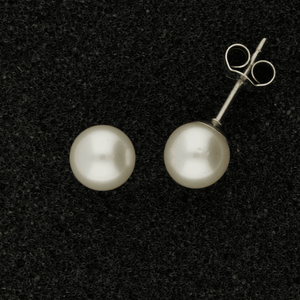 6.5-7mm White Akoya Pearl 18ct Stud Earrings