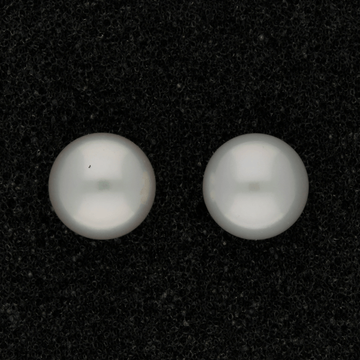 9mm White/Grey Fresh Water Pearl 9ct Stud Earrings