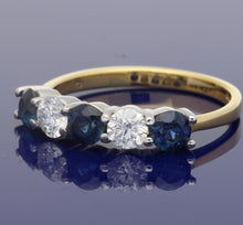 18ct Yellow Gold Sapphire & Diamond Eternity Ring