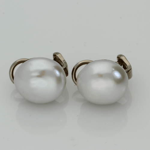 12.5-13mm Baroque Fresh Water Pearl  18ct White Gold Clip-On Earrings